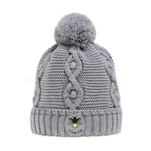 Wintervariante mit Zopfmuster, Grey Violet, Grau