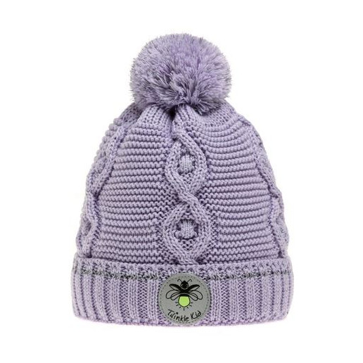 Wintervariante mit Zopfmuster, Pastel Lilac, Flieder