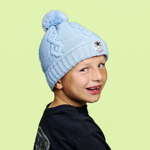Zopfmuster Wintermütze blau